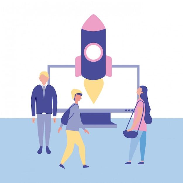 Gens d'affaires avec fusée. concept de démarrage Vecteur gratuit