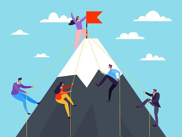 Gens D'affaires Grimpant Sur La Montagne, Illustration. Réussite Par Concept De Leadership, Grimper Le Sommet De Carrière. Vecteur Premium