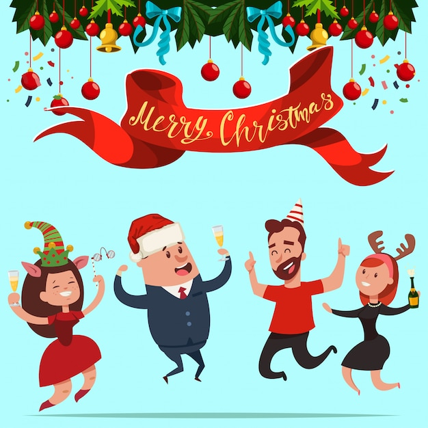 Les gens d'affaires heureux dans un chapeau de père noël et des costumes de nouvel an sautent. vector illustration de fête de bureau de dessin animé de noël. Vecteur Premium