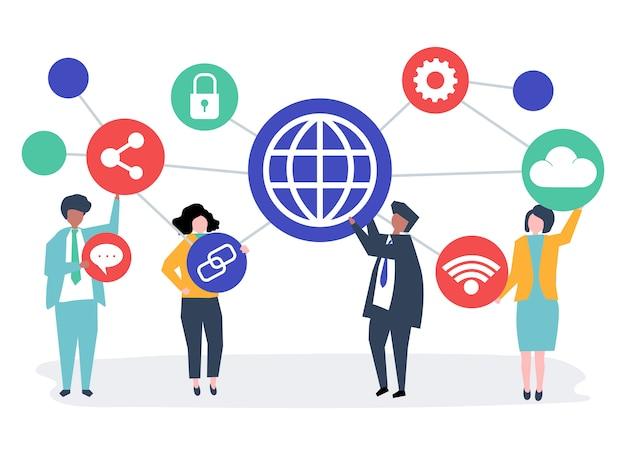 Gens d'affaires avec des icônes de connexion Vecteur gratuit