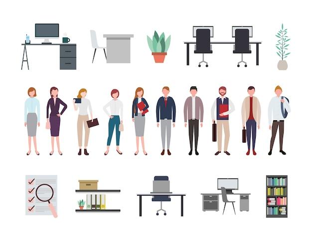 Gens d'affaires et icônes de matériel de bureau Vecteur gratuit