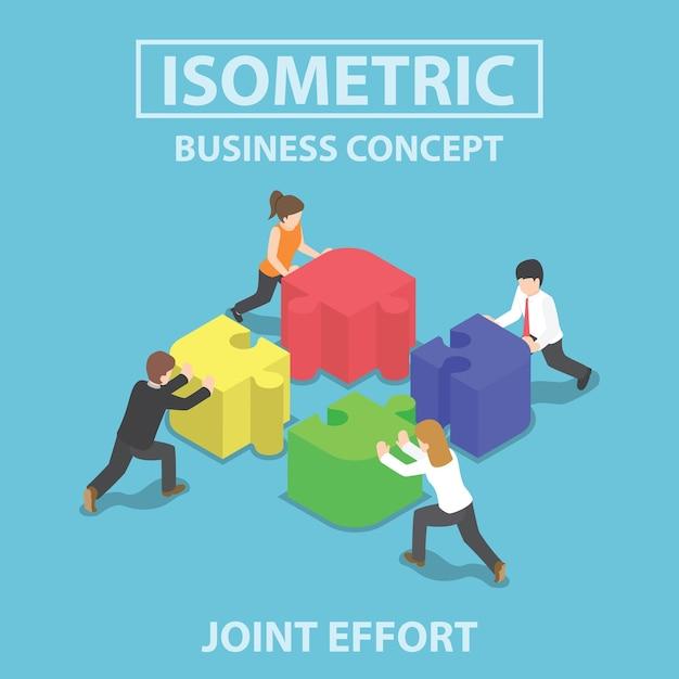 Gens d'affaires isométrique poussant Vecteur Premium