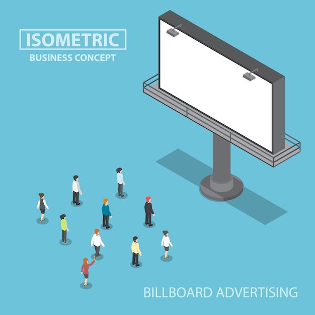 Gens d'affaires isométriques, debout devant un grand panneau d'affichage Vecteur Premium
