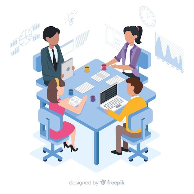 Gens d'affaires isométriques en réunion Vecteur gratuit