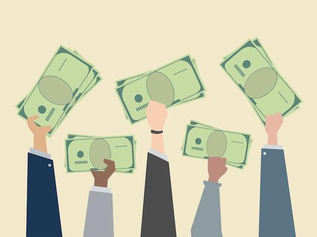 Gens d'affaires maintenant illustration de l'argent Vecteur gratuit