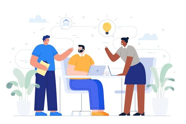 Gens d'affaires partageant des idées Vecteur gratuit