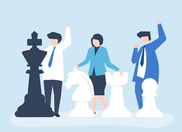 Gens d'affaires avec des pièces d'échecs géantes Vecteur gratuit