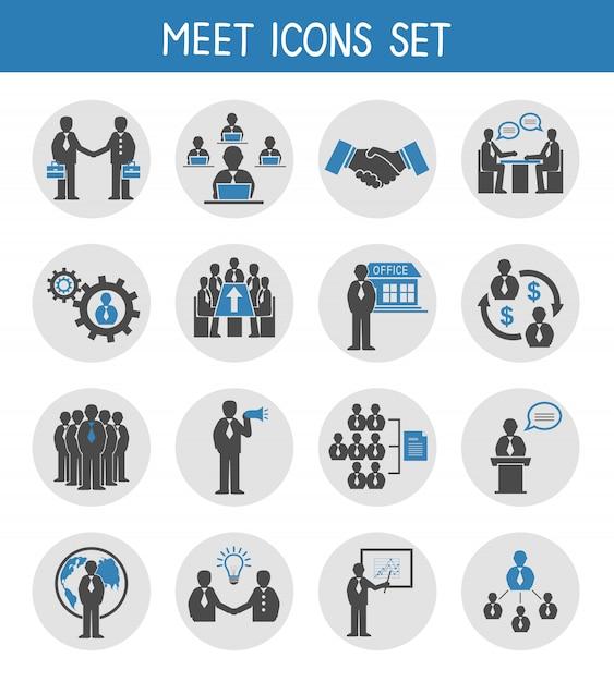 Gens d'affaires plat réunissant des icônes Vecteur Premium