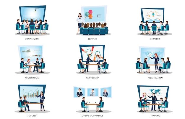 Gens D'affaires De Réunion Ou De Travail D'équipe Vecteur Premium