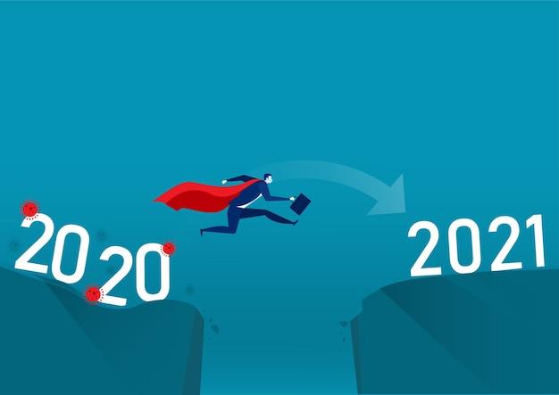 Les Gens D'affaires Sautant Du Virus De L'année Au Nouvel An. Vecteur Premium