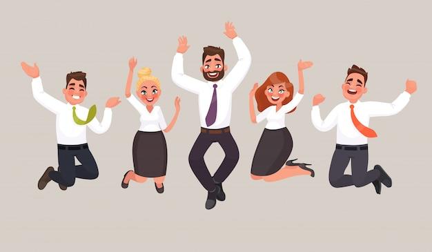 Vecteur Premium | Les Gens D'affaires Sautent Pour Célébrer La Victoire.  Employés De Bureau Heureux