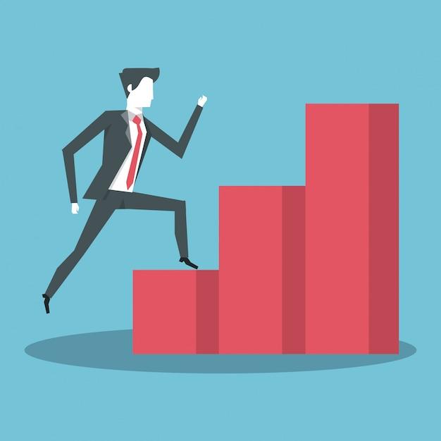 Gens d'affaires et statistiques Vecteur Premium