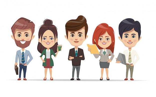 Gens d'affaires travaillant en caractère de travail d'équipe. Vecteur Premium