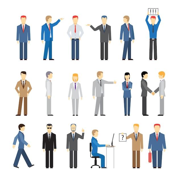 Gens D & # 39; Affaires De Vecteur Dans Différentes Poses Isolés Vecteur gratuit