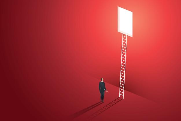 Les Gens D'affaires Vision Escalade échelle à Travers Le Trou Sur Le Mur Rouge Solution Solutions Concept Créatif. Illustration Vecteur Premium