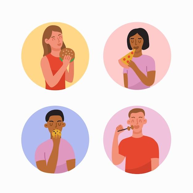 Les Gens Avec Des Aliments Différents Vecteur gratuit