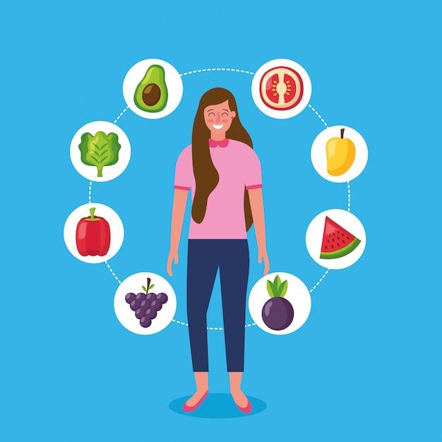 Les gens des aliments sains Vecteur gratuit