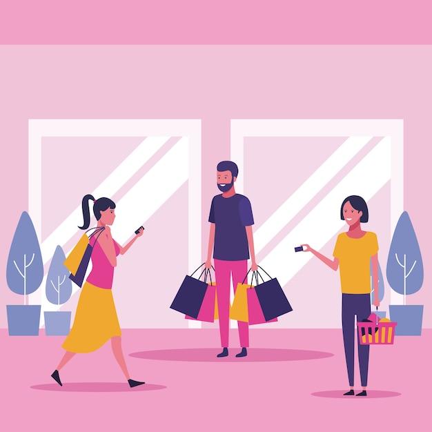Les gens au centre commercial Vecteur Premium