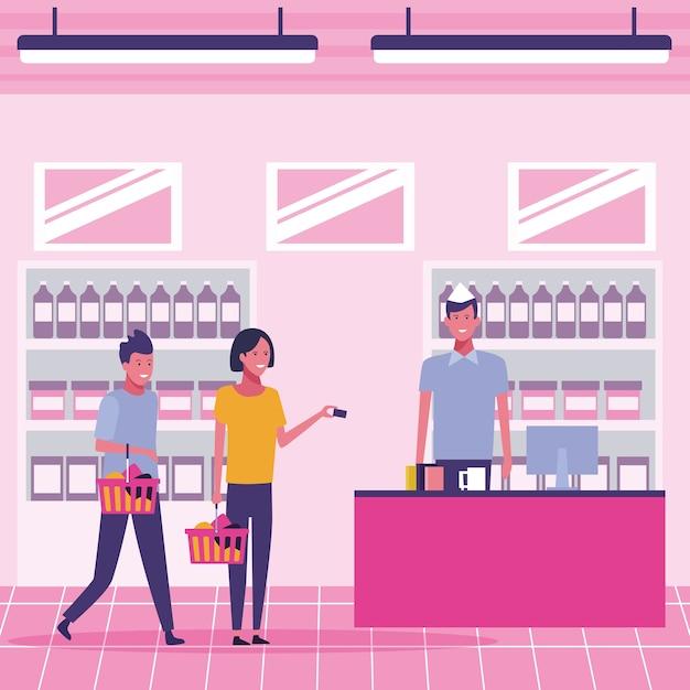 Les gens au supermarché Vecteur Premium