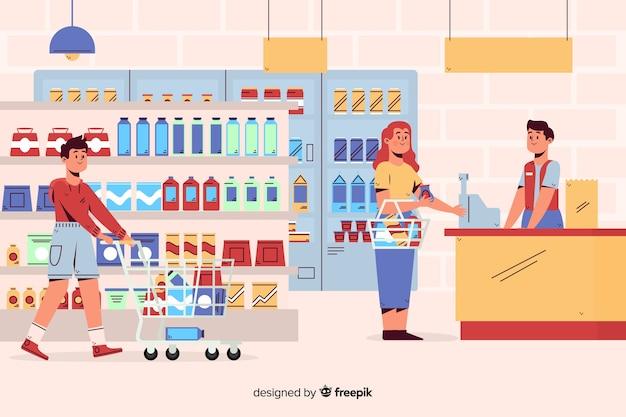 Les Gens Au Supermarché Vecteur gratuit