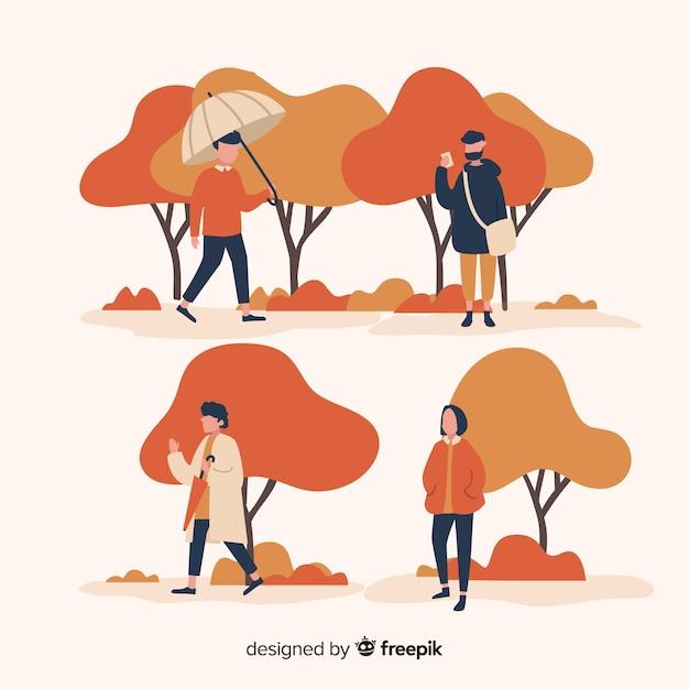 Gens, automne, parc, marche Vecteur gratuit