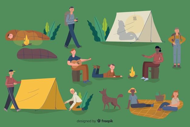 Les gens aventureux camping design plat Vecteur gratuit