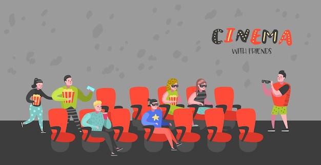 Gens De Bande Dessinée Avec Pop-corn Et Soda Regardant Un Film Dans Les Sièges De Cinéma Poster Vecteur Premium