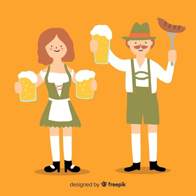 Gens de la bande dessinée tenant des bières à l'oktoberfest Vecteur gratuit