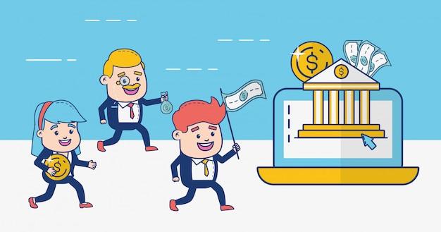 Gens de banque en ligne Vecteur gratuit