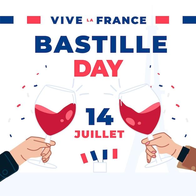 Les Gens De La Bastille Grillant Des Coupes De Champagne Vecteur gratuit