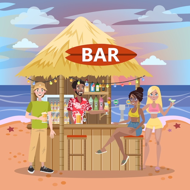 Les Gens Boivent Un Cocktail Au Bar De La Plage. Paradis D'été à L'océan Ou à La Mer. Vacances Dans Le Côté Tropical. Illustration Vecteur Premium