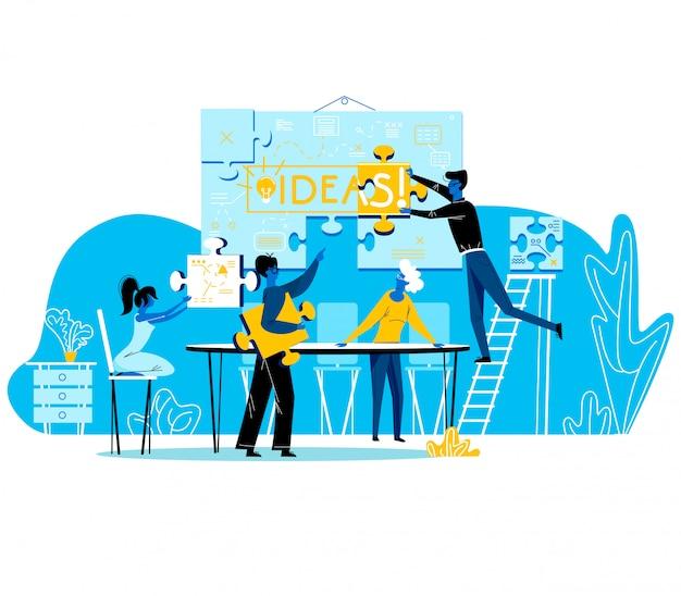 Gens de bureau, travail en groupe créatif, processus de brainstorming Vecteur Premium