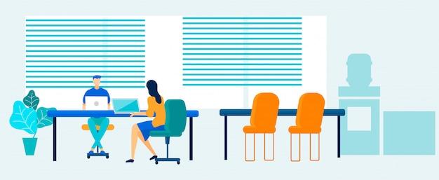 Gens de bureau travaillant sur un ordinateur portable dans l'espace de coworking Vecteur Premium