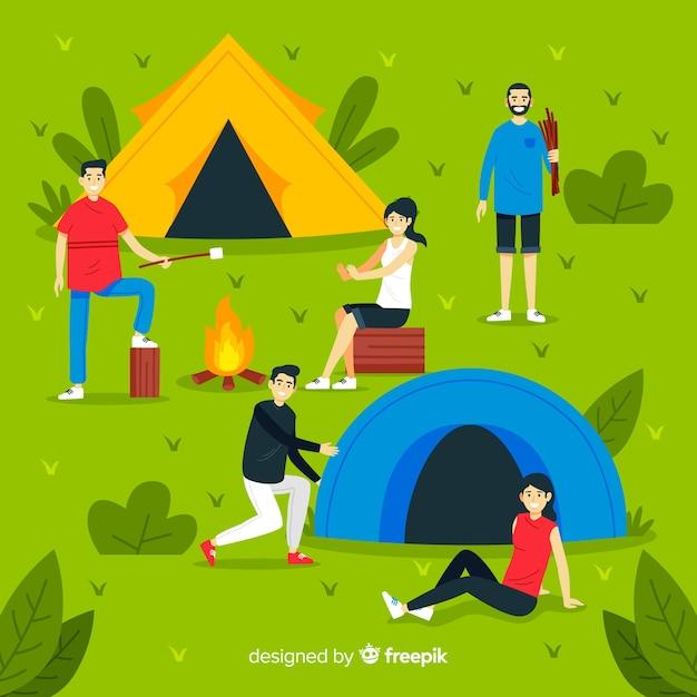 Les gens campant dans la nature illustrés Vecteur gratuit