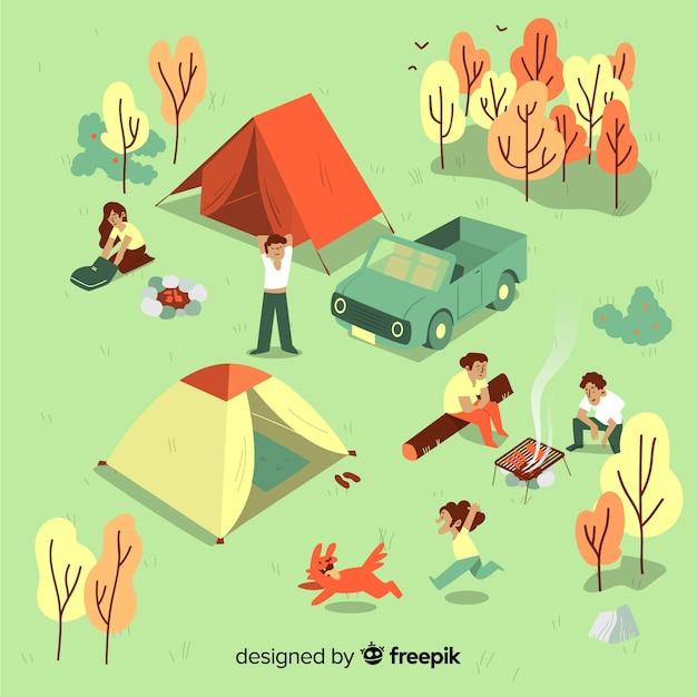 Les gens campent par une journée ensoleillée Vecteur gratuit