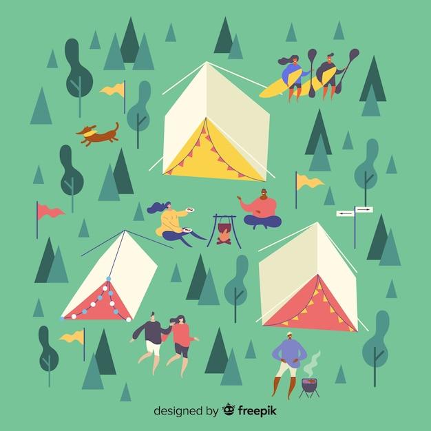 Gens de camping design plat illustrés Vecteur gratuit