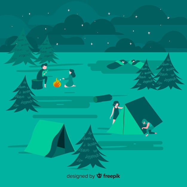 Gens camping illustration design plat Vecteur gratuit