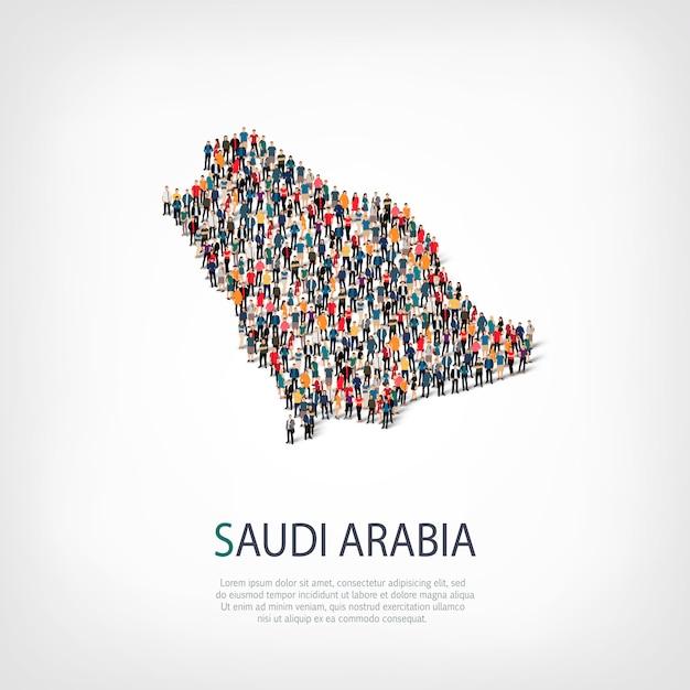 Les Gens, La Carte De L'arabie Saoudite. Foule Formant Une Forme De Pays. Vecteur Premium