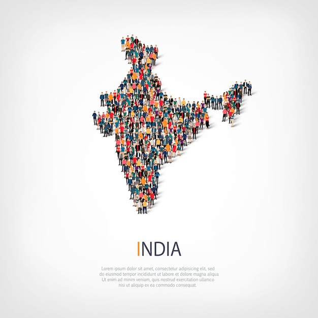 Les Gens Carte Pays Inde Vecteur Premium