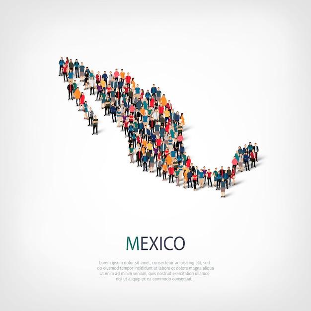 Les Gens Carte Pays Mexique Vecteur Premium