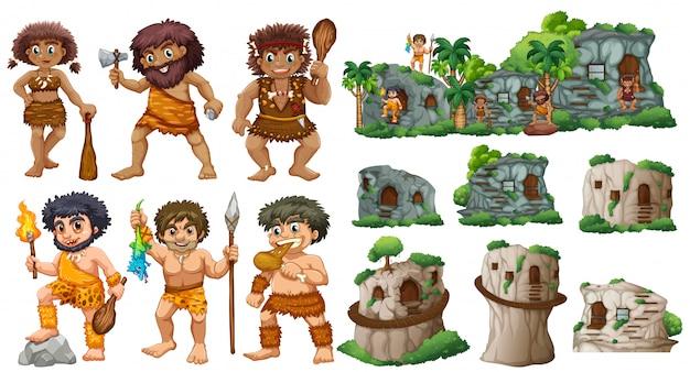 Les gens des cavernes et différents styles de maisons Vecteur gratuit