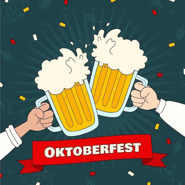 Les Gens Célébrant L'oktoberfest Avec De La Bière Vecteur gratuit