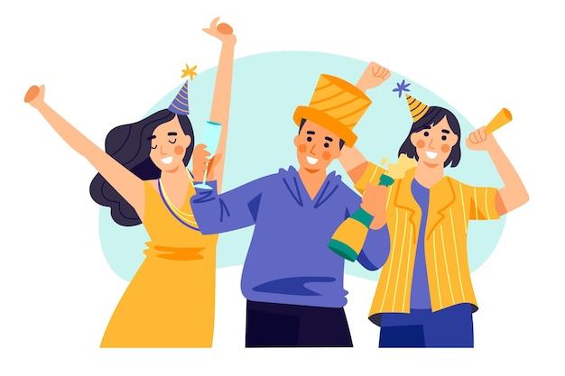 Les Gens Avec Des Chapeaux De Fête Célèbrent Ensemble Vecteur gratuit