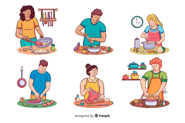 Les gens à la collection de cuisine Vecteur gratuit