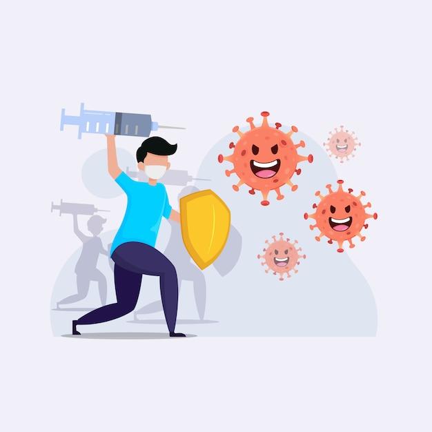 Les Gens Combattent L'illustration De L'épidémie De Coronavirus Vecteur Premium