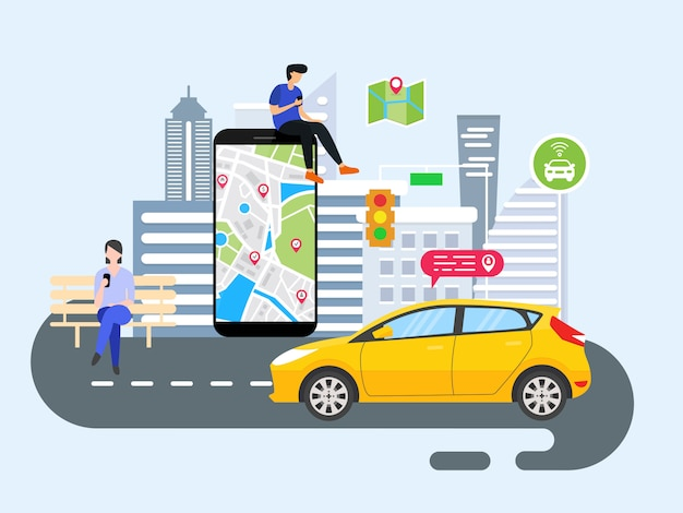 Les gens commandent le transport en ligne Vecteur Premium