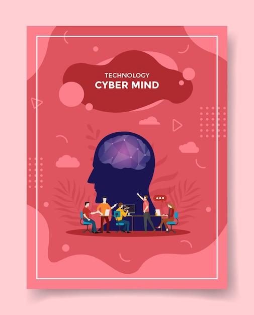 Les Gens De Concept D'esprit Cyber Discutent De Réunion Cerveau Tête Avant Vecteur Premium