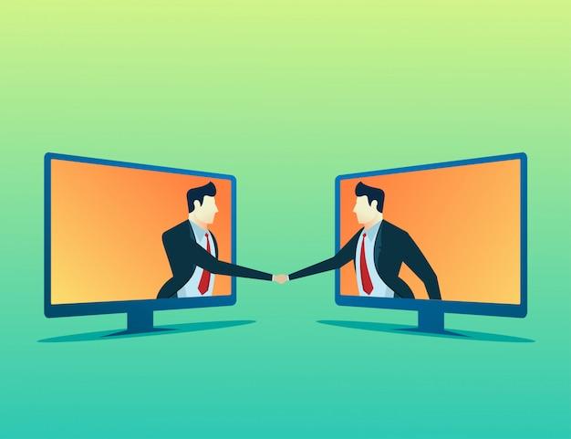 Gens concept illustration deux en ligne homme d'affaires deal Vecteur Premium