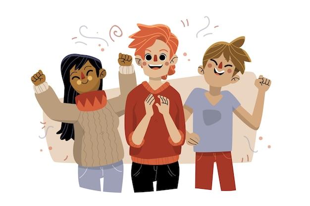 Gens Avec Des Confettis Célébrant Ensemble Vecteur gratuit