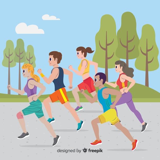 Les gens sur une course de marathon Vecteur gratuit